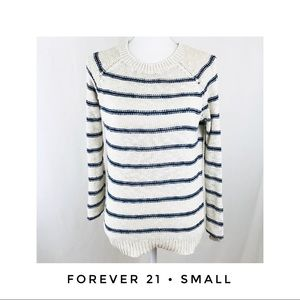 Forever 21 Small Striped Sweater Blue Off White
